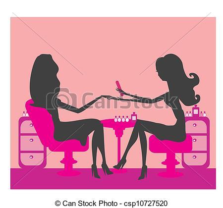 Silhouettes girls in beauty s - Manicure Clip Art