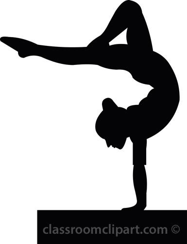 Silhouettes Gymnastics Silhouette 307b Classroom Clipart