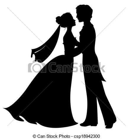 ... Silhouettes of bride and groom