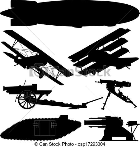 ... Silhouettes of weapons from World War I (Great War)