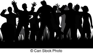 ... Silhouettes Of Zombies And Tombstone-... Silhouettes of zombies and tombstones isolated on white-5