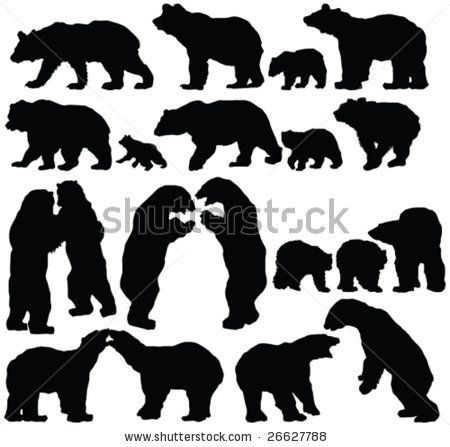 Sillouette Of Bears | Bears Silhouette C-sillouette of bears | Bears Silhouette Collection - Vector - 26627788 : Shutterstock-18