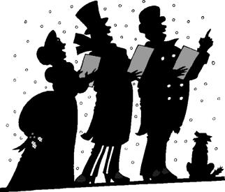 silouette of Christmas carolers