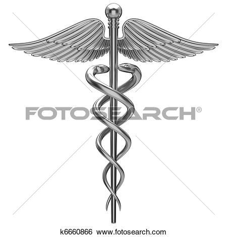 Silver Caduceus Medical Symbol-Silver caduceus medical symbol-19