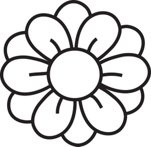 simple flower clipart black a - Black And White Flower Clipart