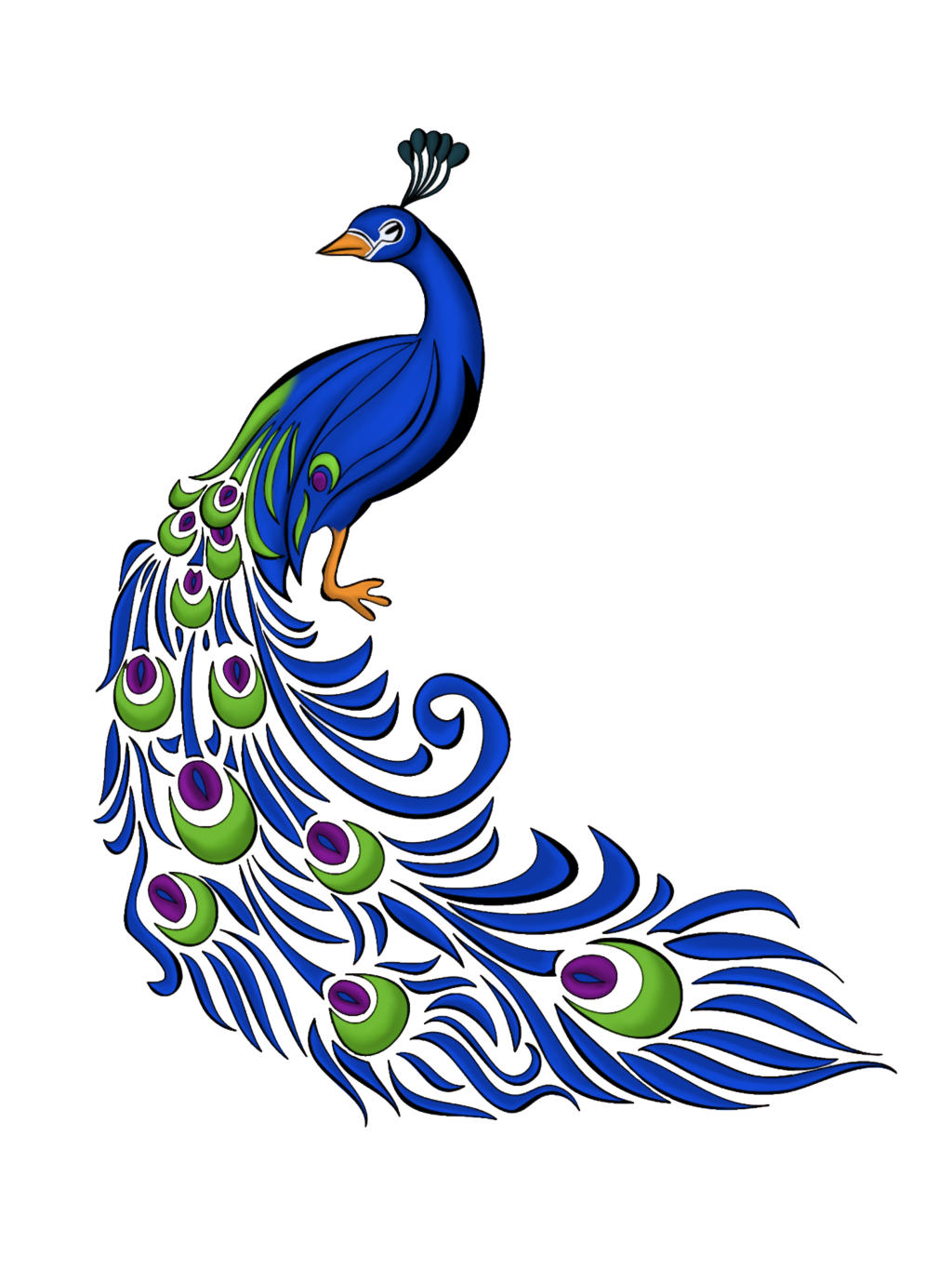 Simple Peacock Clipart Black And White-simple peacock clipart black and white-18