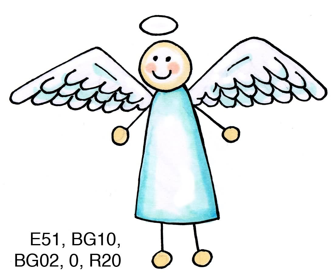 Simple Angel Outline Clipart Graphic