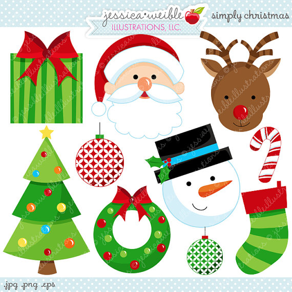 Simply Christmas Cute Christmas Digital Clipart Commercial Use Ok