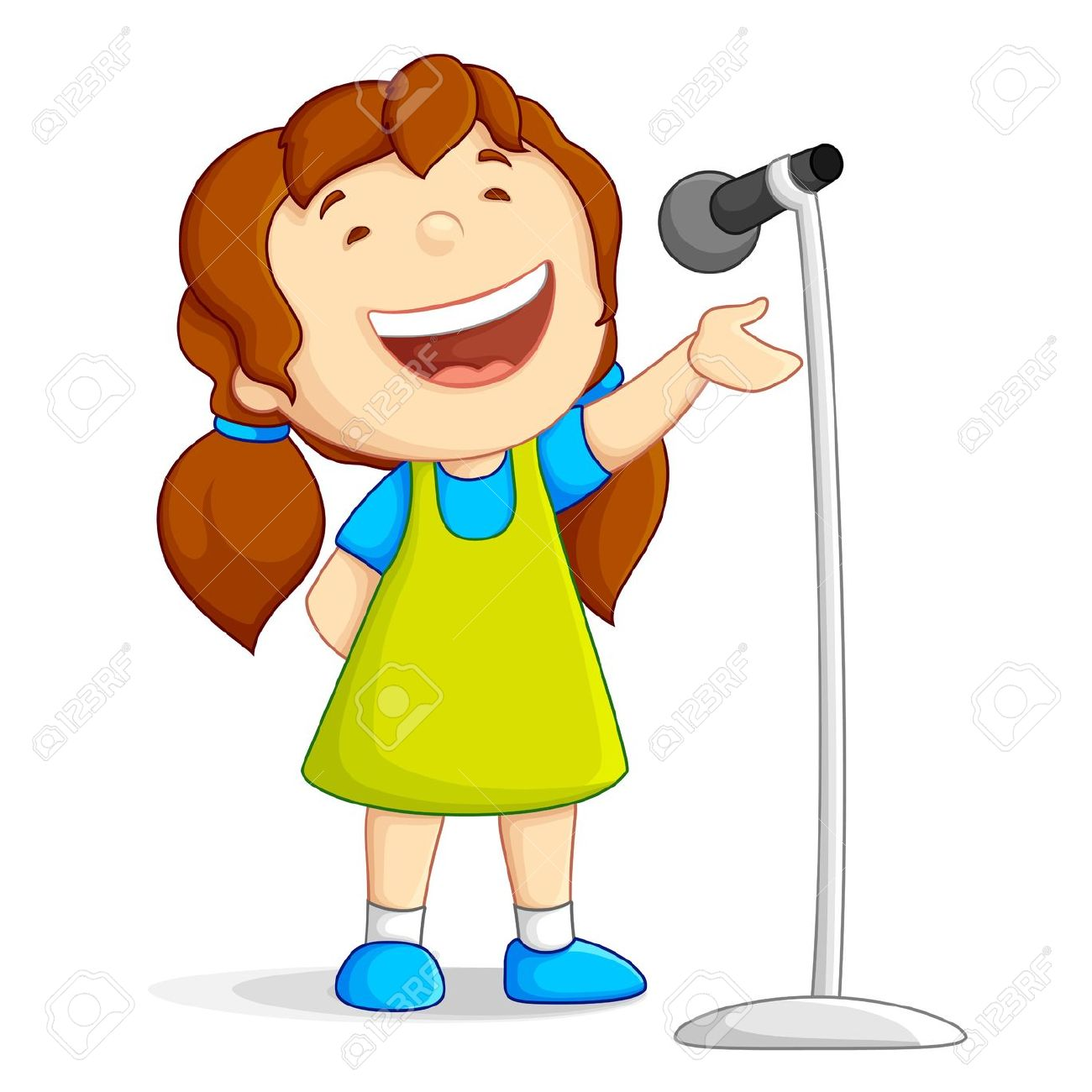 Boy Singing Into Microphone P