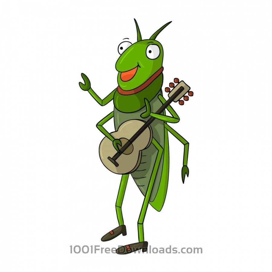 Singing cricket insect clipart .