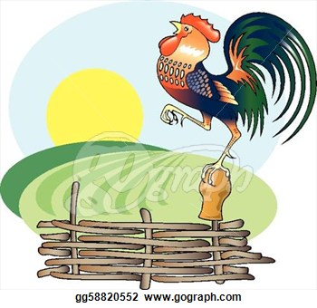 Singing Rooster And Morning Sun Vector Clipart Gg58820552 Gograph