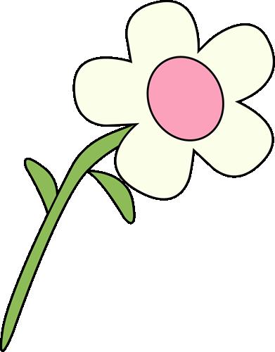 Single White Flower - White Clip Art