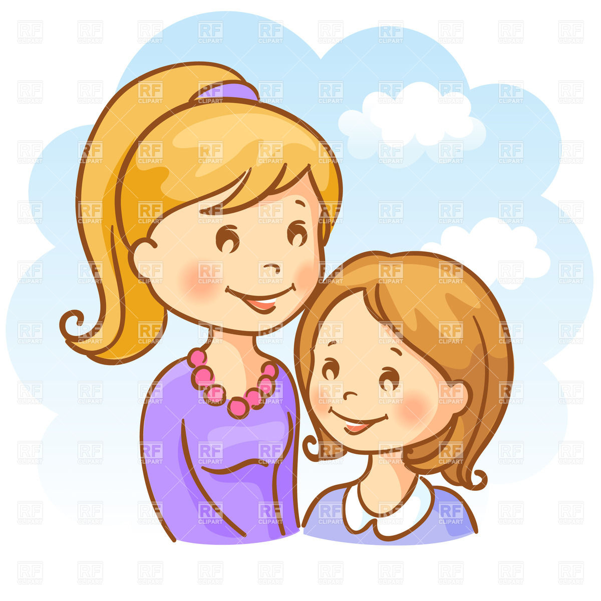Sisters Junior And Elder Download Royalty Free Vector Clipart Eps