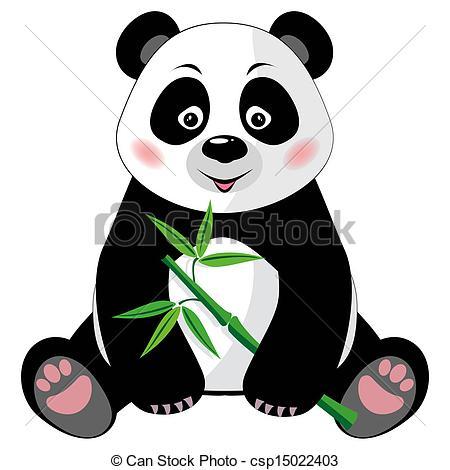 ... Sitting cute panda with bamboo isola-... Sitting cute panda with bamboo isolated on white background.-19