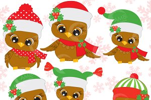 Six Cute Christmas Owls Clipart ...