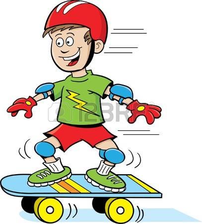 skateboard: Boy Riding a Skateboard