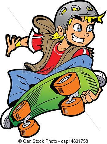 Boy Doing Skateboard Jump - csp14831758