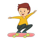 boy jumping on skateboard. Si - Skateboard Clipart