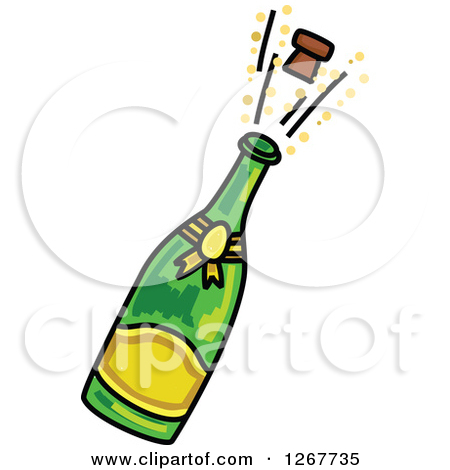 Sketched Champagne Bottle . - Champagne Clip Art
