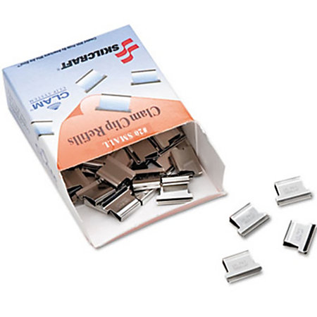SKILCRAFT® Clam Clip Refills, Small, Si-SKILCRAFT® Clam Clip Refills, Small, Silver, Box Of 50 (AbilityOne 7510-17