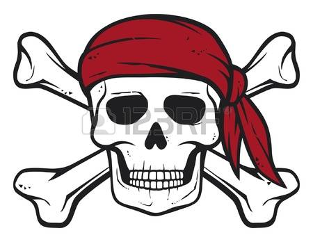 skull and crossbones: pirate skull, red bandana and bones pirates symbol,  skull and