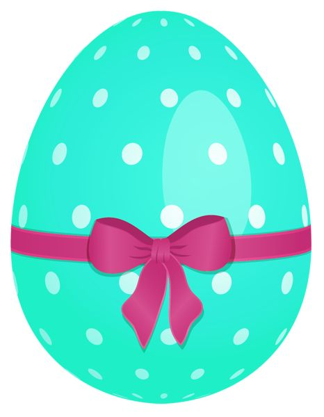 Sky Blue Easter Egg with Green Bow PNG Clipart