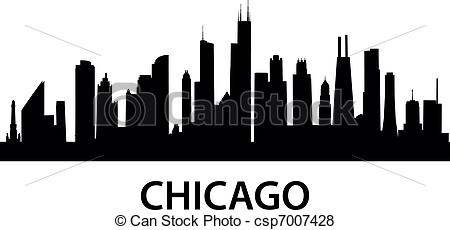 Skyline Chicago - Detailed Silhouette Of-Skyline Chicago - detailed silhouette of Chicago, Illinois .-16