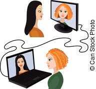 . ClipartLook.com Two women having a video chat - Illustration of two women.