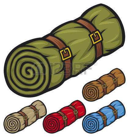 sleeping bag: sleeping bag bed roll, camping sleeping bag, rolled sleeping bag Illustration