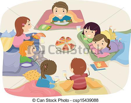 ... Sleepover - Stickman Illustration Fe-... Sleepover - Stickman Illustration Featuring Kids Chatting.-16