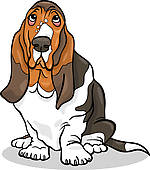 Sleepy Hound Dog u0026middot; basset hound dog cartoon illustration