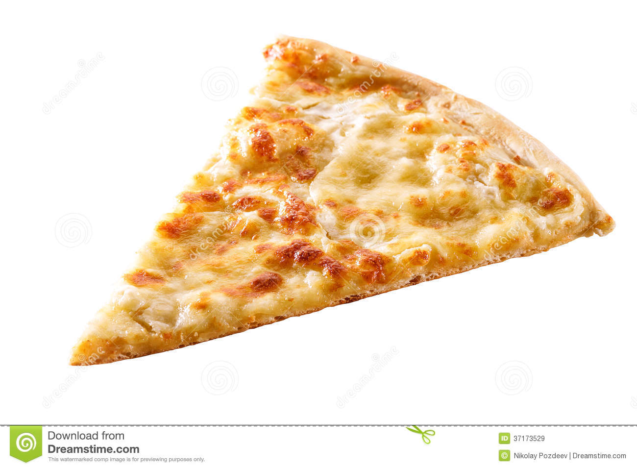 Slice of cheese pizza close-up .