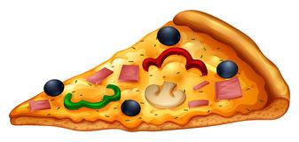 Slice of pizza on white .