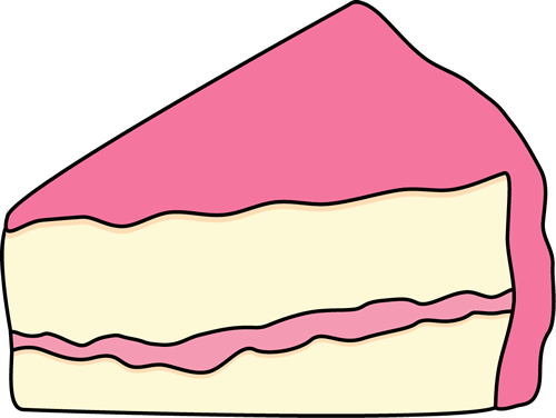 Slice of White Cake with Pink Icing