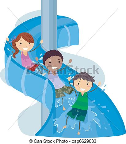... Slide Kids - Illustration of Kids on a Water Slide