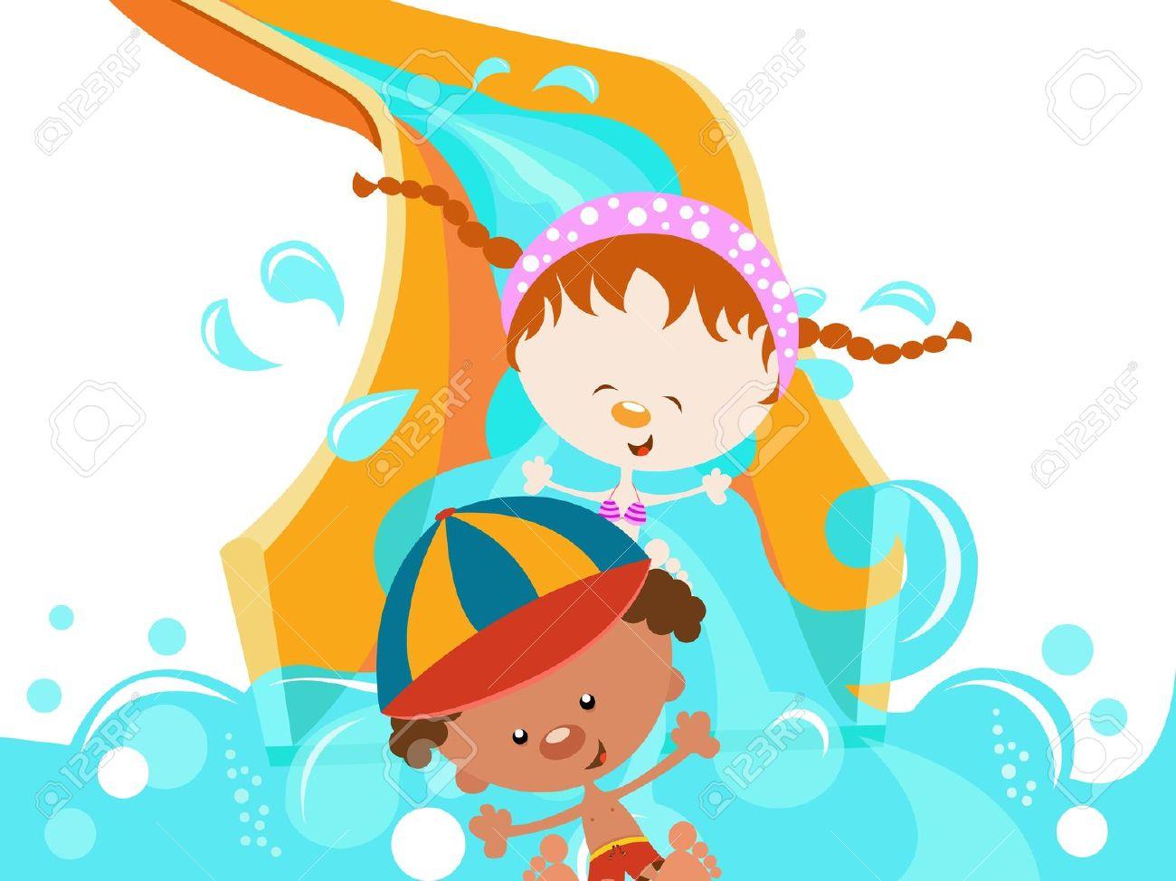 Slide: Kids On Water Slide .-slide: Kids On Water Slide .-9