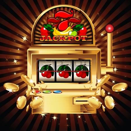 slot machine: A slot fruit machine with cherry winning on cherries. Gold coins fly