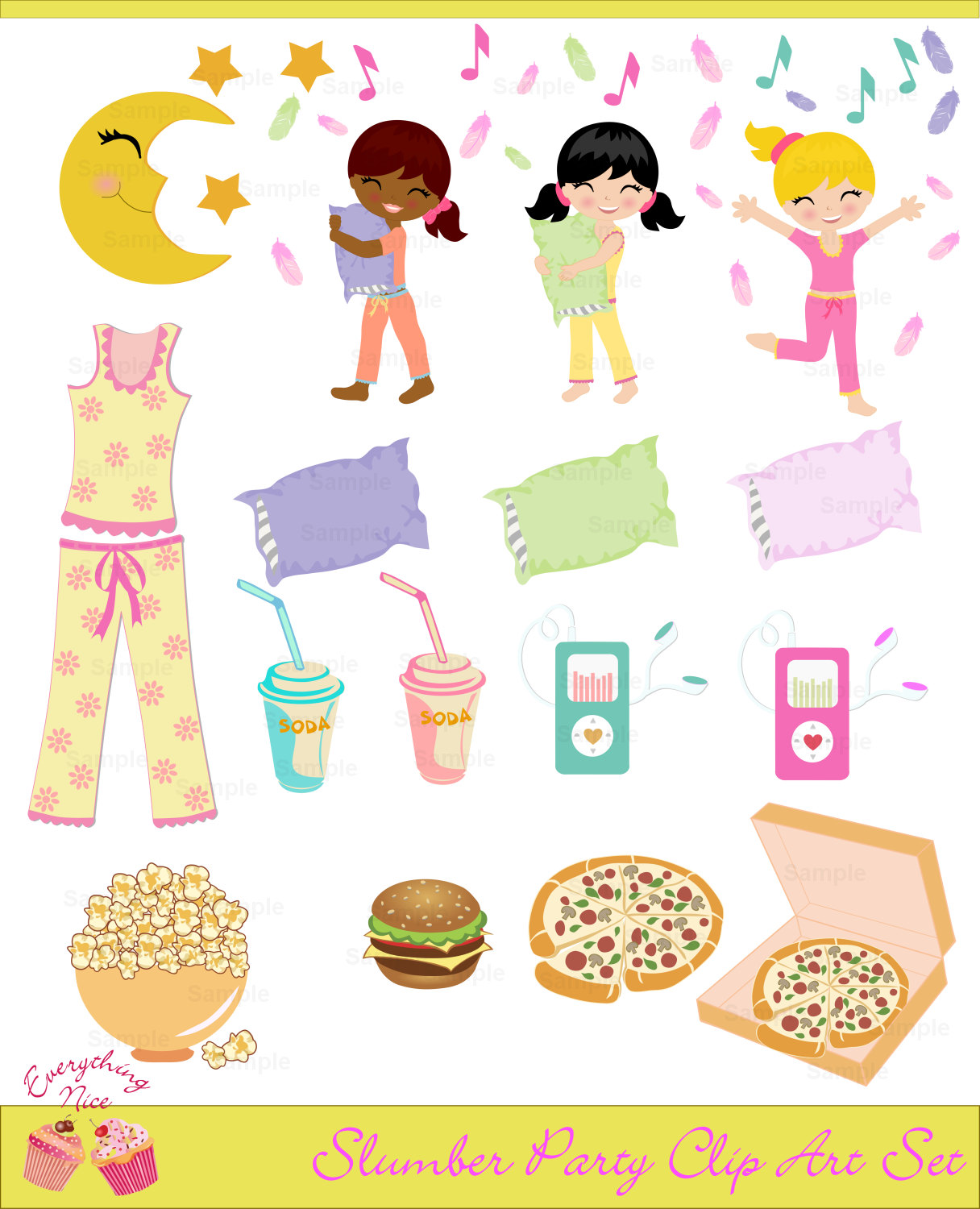 Slumber Party Clip Art Set.