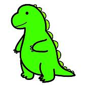 Small cartoon dragon 1; standing big green lizard