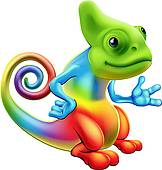 small cute chameleon; chameleon red ...