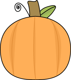 Small Pumpkin Clip Art Image - small orange pumpkin with a swirly vine and green leaf.
