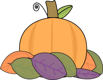Small Pumpkin with Autumn Lea - Fall Images Clip Art