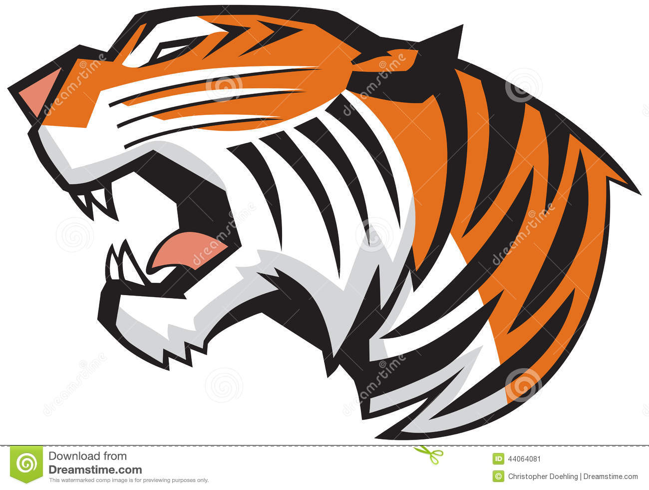 Small roaring tiger head clipart - ClipartFest