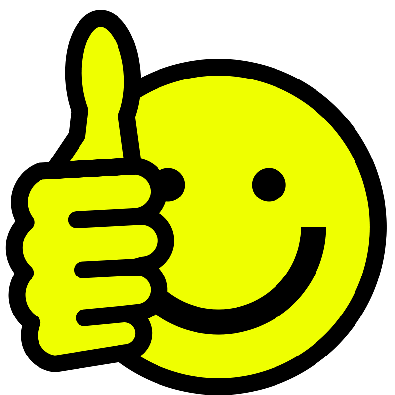 smiley face thumbs up clipart black and white