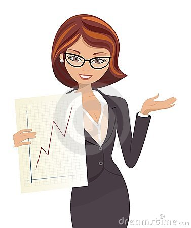 Smiling Business Woman In Suit Showing A-Smiling Business Woman In Suit Showing A Successful Graph Isolated On-17