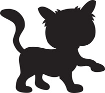smiling cat silhouette clipart. Size: 65 Kb