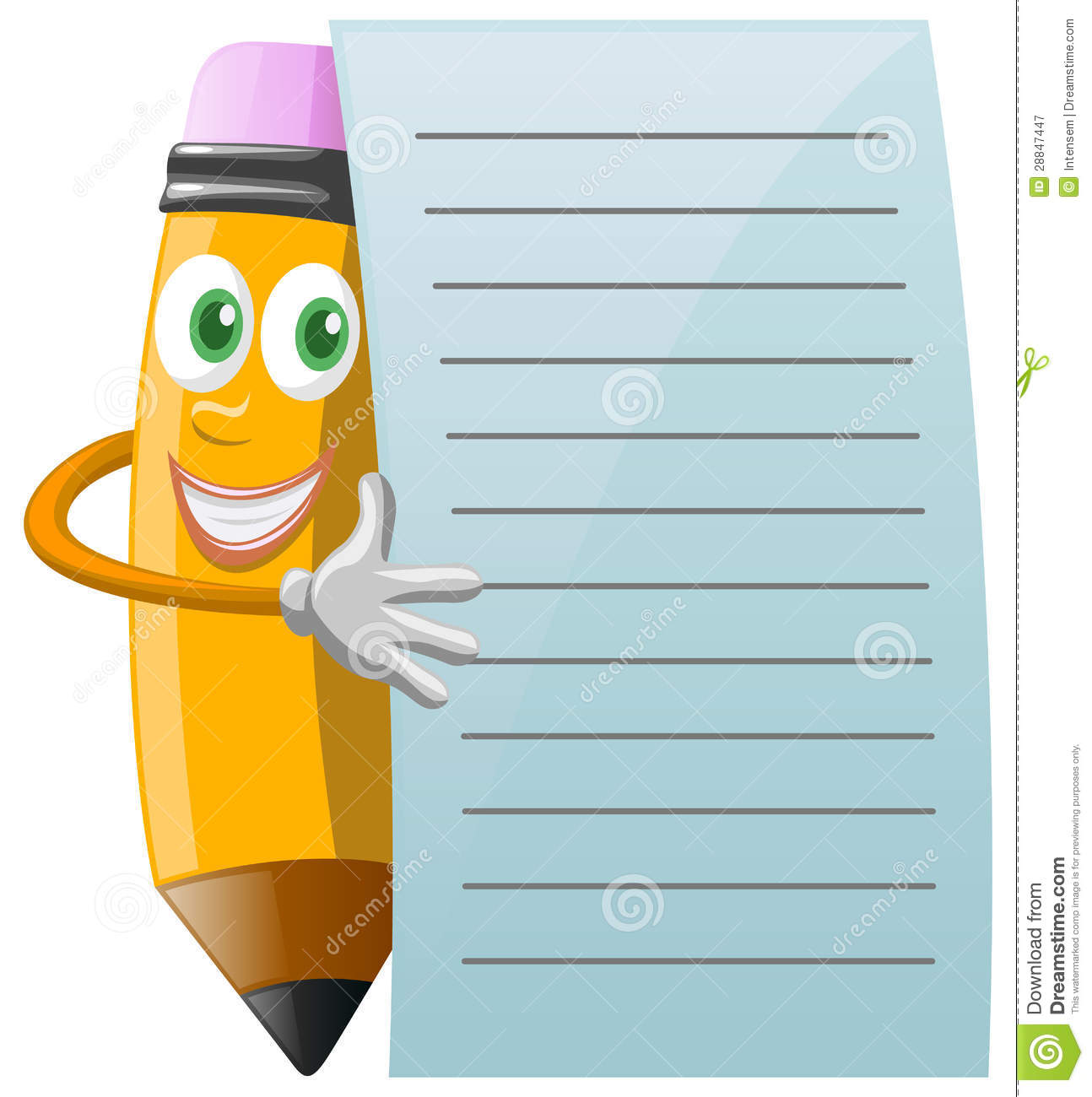 Smiling Fun Pencil Character Standing Be-Smiling Fun Pencil Character Standing Behind Notepaper And Holding It-18