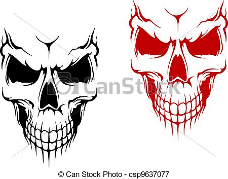 ... Smiling skull in black and red versions for t-shirt or.
