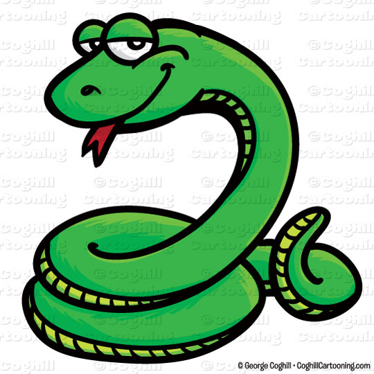 Snake cartoon character clip art stock illustration by George Coghill.