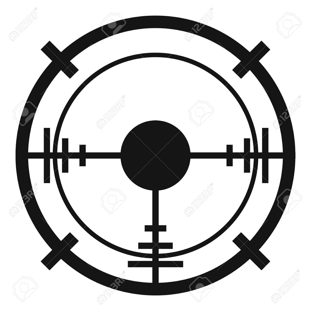 Sniper elite aim icon. Simple - Sniper Elite Clipart